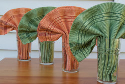 Bud Green & Fall Forward napkins in a fan fold