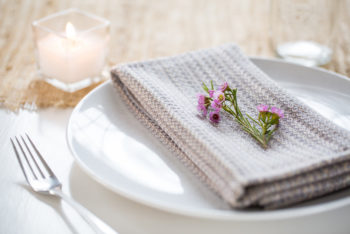 placesetting with clouds napkin