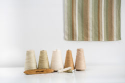 cones of sustainably-grown cotton plus a towel