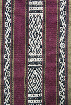 detail from a scarf woven in Chahuaytire, Peru