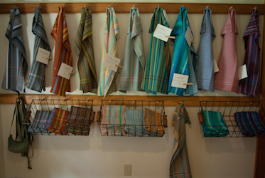 handwoven towel display at Studio Warming Party