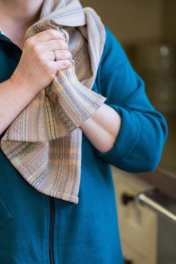 handwoven towel over the shoulder