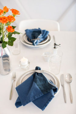 table set with handwoven napkins