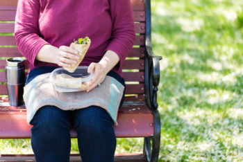 lunch on the park bench with a handwoven napkin