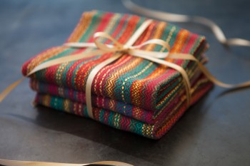 handwoven towels wrapped and ready to gift