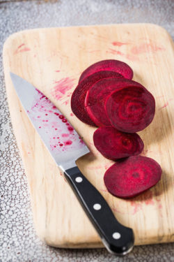sliced beets on the cutting board