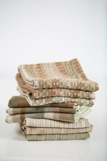 stack of towels woven with sustainably-grown cotton