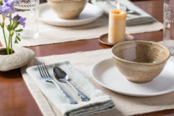table set with linens woven with colorgrown cotton